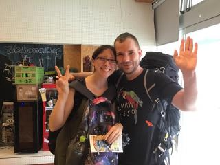 After the flight delay, a couple from the US finally arrived here in Japan. 
